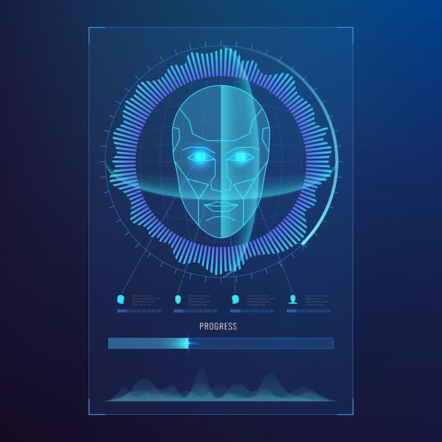 Gezicht digitale herkenning, id gezichten biometrisch scannen voor veilige toegang abstract Premium Vector