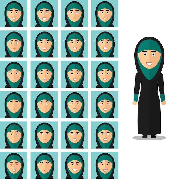 Gezicht emoties van arabische vrouw. portret meisje arabisch, blij verdrietig of boos. vector illustratie in vlakke stijl Premium Vector