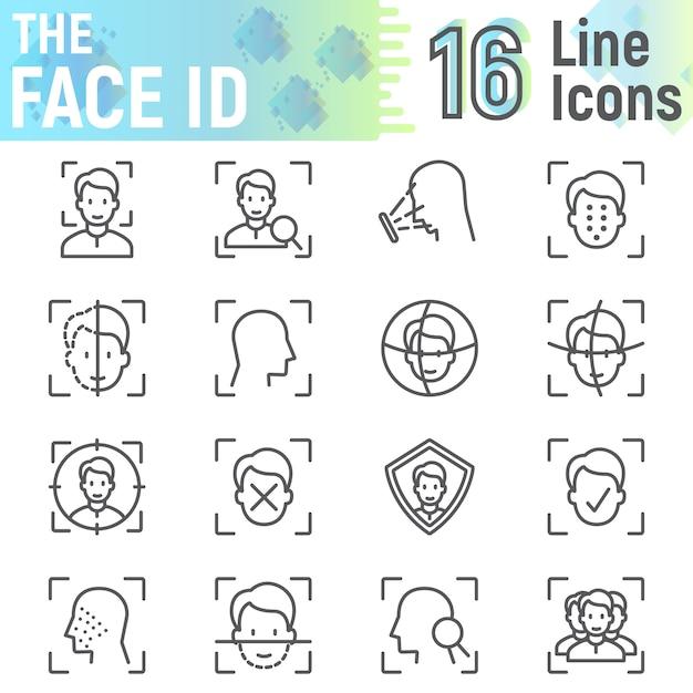 Gezicht id lijn pictogrammenset, gezicht herkenning symbolen collectie Premium Vector