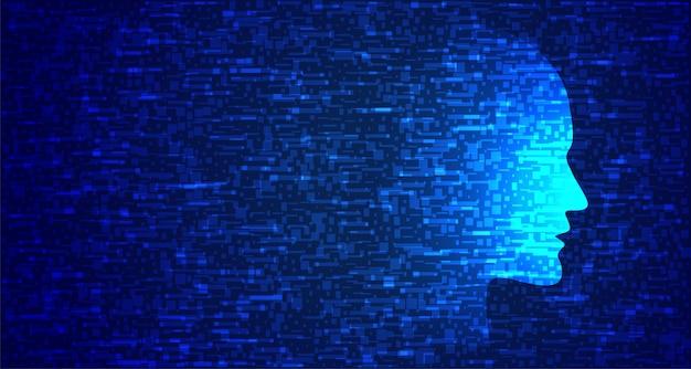 Gezicht met blauwe technologie in glitch-stijl Gratis Vector