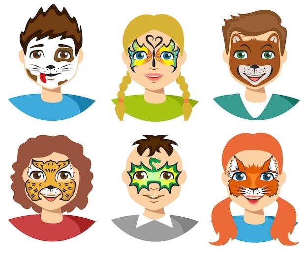 Gezicht schilderen, kinderen gezichten met schilderen geïsoleerd Premium Vector