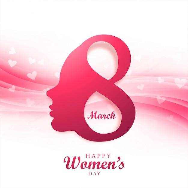 Gezicht van dame in happy women's day concept Gratis Vector