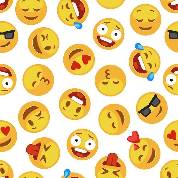 Gezichten emoji patroon. grappige schattige smiley expressie emotie chat messenger cartoon naadloze achtergrond Premium Vector