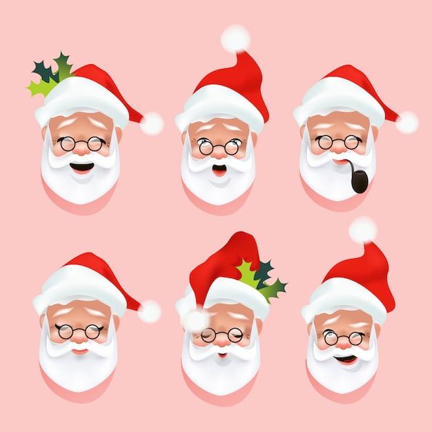 Gezichten van de kerstman, emoties of een glimlach Premium Vector