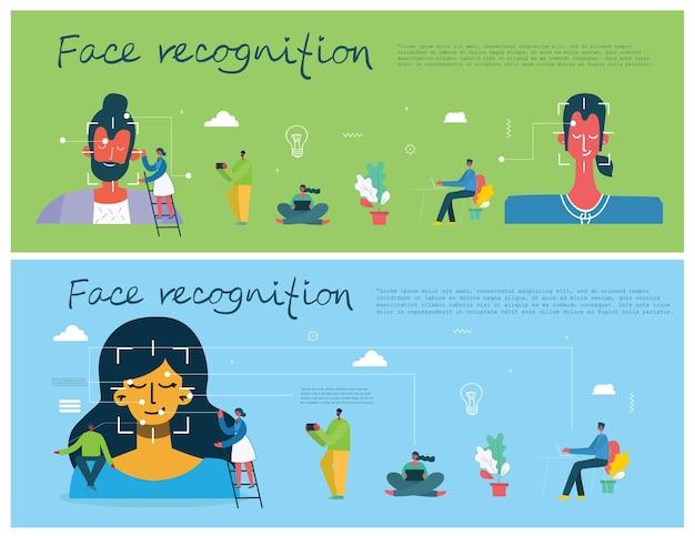 Gezichtsherkenning concept. face id, gezichtsherkenningssysteem met intellectueel leersysteem. plat modern design grafische elementen. Premium Vector