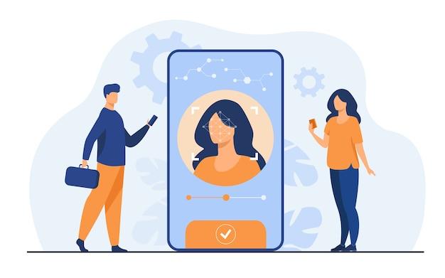 Gezichtsherkenning en gegevensbeveiliging. gebruikers van mobiele telefoons krijgen toegang tot gegevens na biometrische controle. voor verificatie, persoonlijke id-toegang, identificatieconcept Gratis Vector