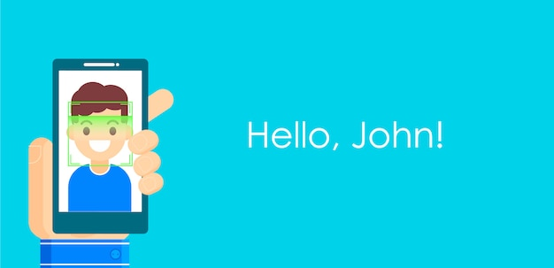 Gezichtsherkenning en mobiele identificatie. youngman ontgrendelt haar smartphone of app. Gratis Vector