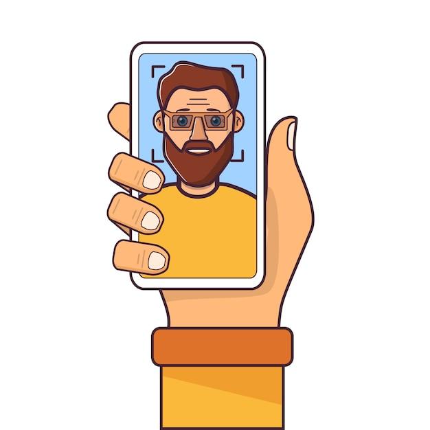 Gezichtsherkenning. gezichts-id. menselijke hand met smartphone. man jong met een baard. Premium Vector