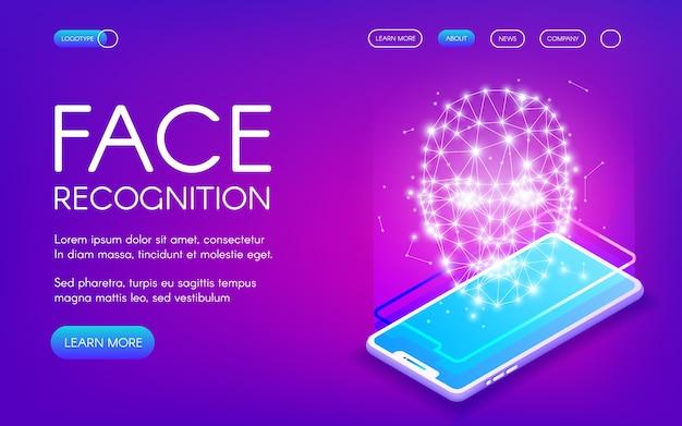 Gezichtsherkenningstechnologie illustratie van digitale scanner voor authenticatie van persoonlijke identiteit Gratis Vector