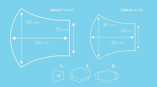 Gezichtsmasker naaipatroon schetsen Gratis Vector