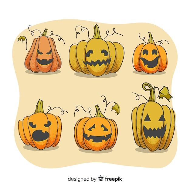 Gezichtsuitdrukkingen op halloween-pompoeninzameling Gratis Vector