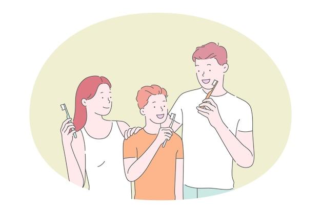 Gezin met zoon tanden poetsen met tandpasta en tandenborstel Premium Vector