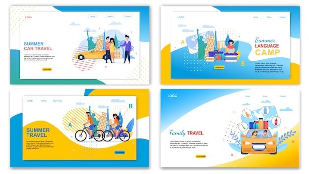 Gezinsauto reizen zomer taalkamp banner set Premium Vector