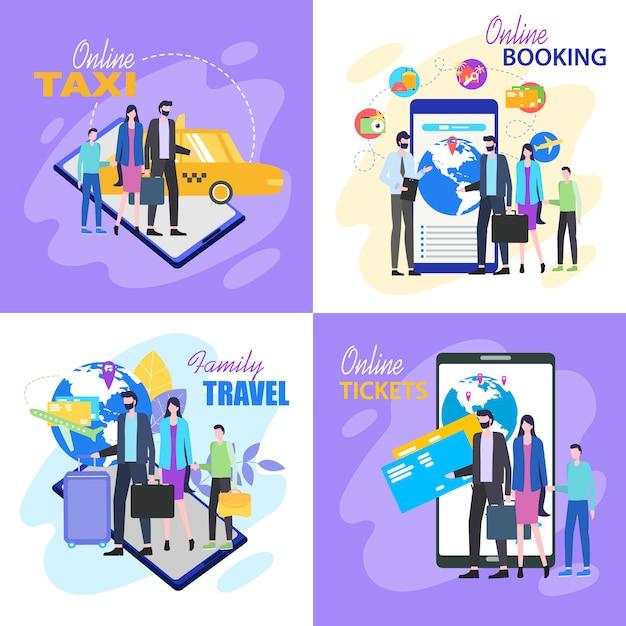 Gezinsreizen koop vliegtickets online taxi hotelboekingen Premium Vector
