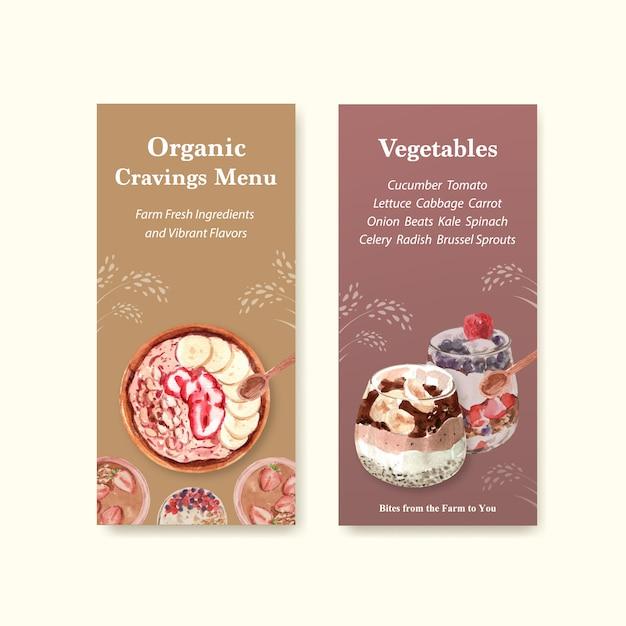 Gezond en biologisch voedsel flyer sjabloonontwerp voor voucher, advertentie aquarel Gratis Vector
