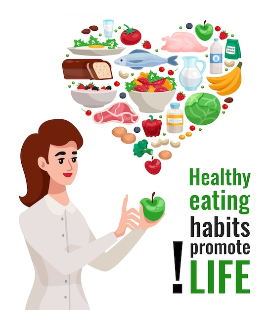 Gezond eten reclameaffiche met jonge vrouw die groene appel en nuttige voedselelementen houden Gratis Vector