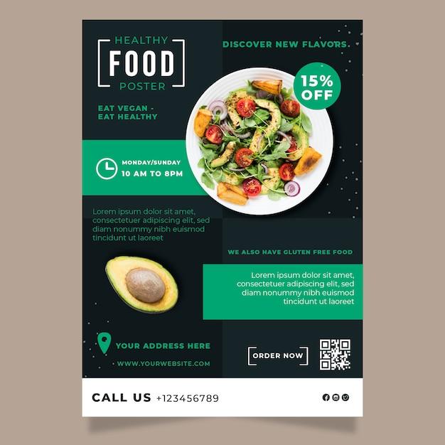 Gezond eten restaurant flyer sjabloon met foto Gratis Vector