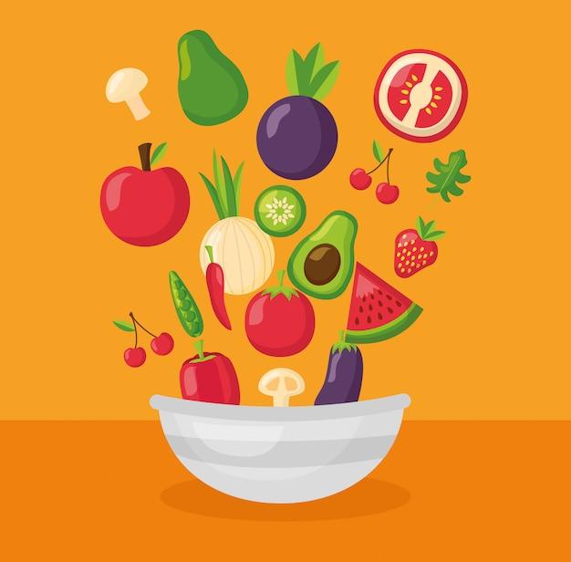 Gezond eten vers Gratis Vector