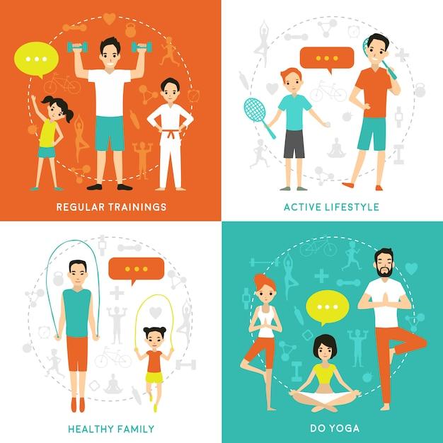 Gezond familie platte concept Gratis Vector