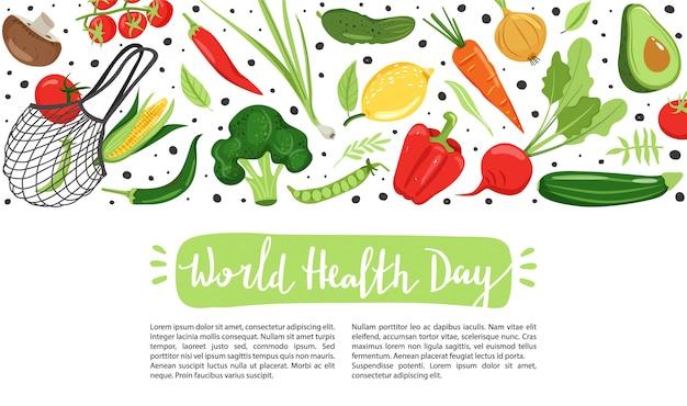 Gezond leven. verschillende groenten voor milieuvriendelijk leven. Premium Vector