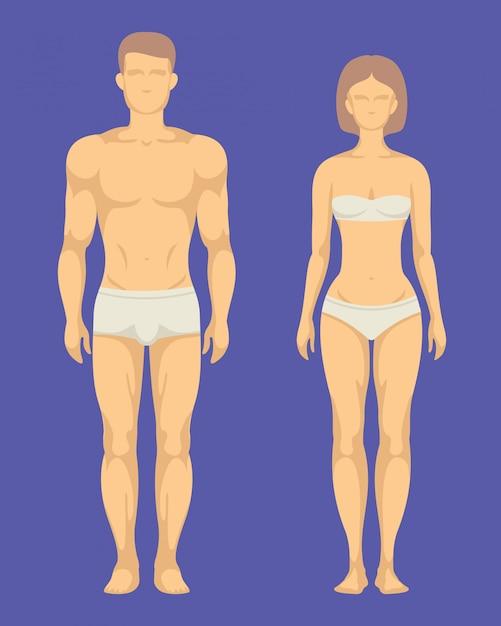 Gezond lichaam van man en vrouw platte set Premium Vector