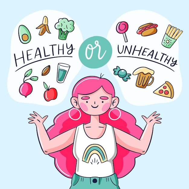Gezond of ongezond voedsel concept Gratis Vector