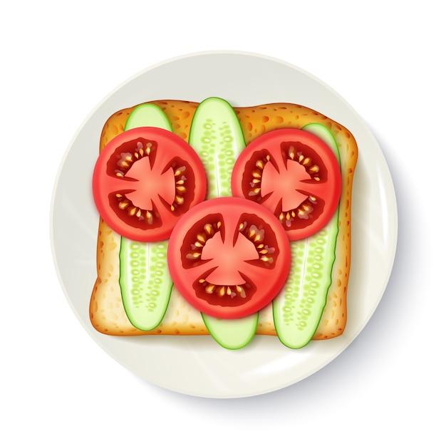 Gezond ontbijt smakelijk bovenaanzicht Gratis Vector
