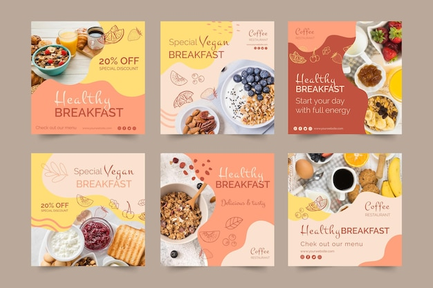 Gezond ontbijt social media posts sjabloon Gratis Vector