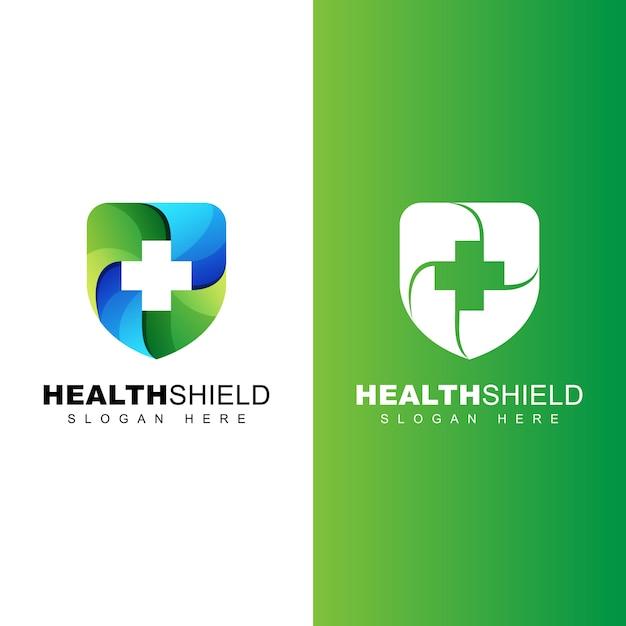 Gezond schild logo, veilig uw gezondheid verloop logo sjabloon Premium Vector