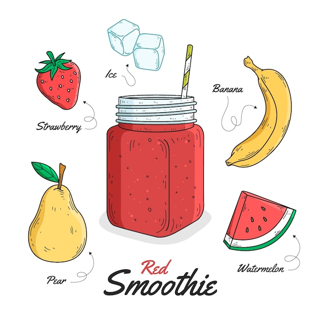Gezond smoothie receptthema Gratis Vector
