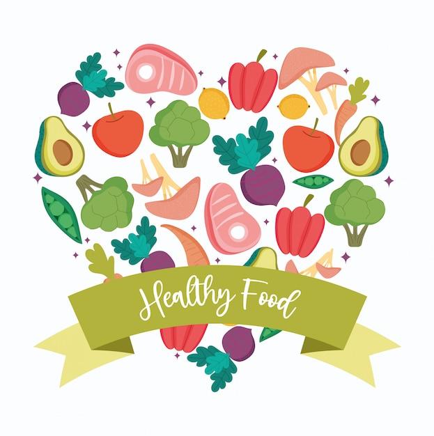 Gezond voedsel, hartvorm groenten en fruit evenwicht voedingsdieet Premium Vector