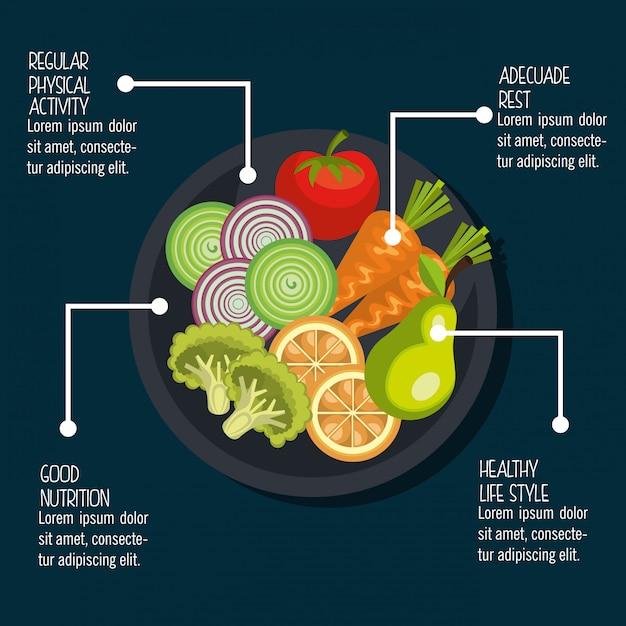 Gezond voedsel illustratie Gratis Vector