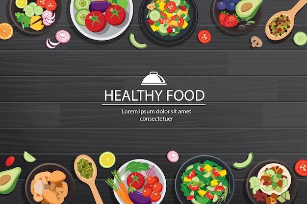 Gezond voedsel met ingrediënten op de donkere houten tafel Premium Vector