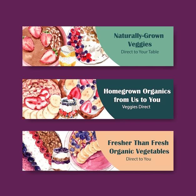 Gezond voedsel sjabloon voor spandoekontwerp voor voucher, advertentie aquarel Gratis Vector