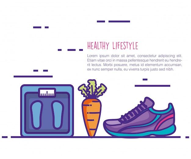 Gezonde en fitness levensstijl set pictogrammen Gratis Vector