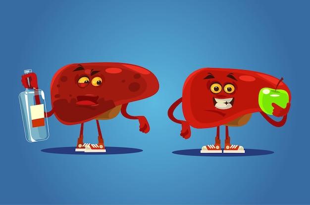 Gezonde en ongezonde leverkarakters. tekenfilm Premium Vector
