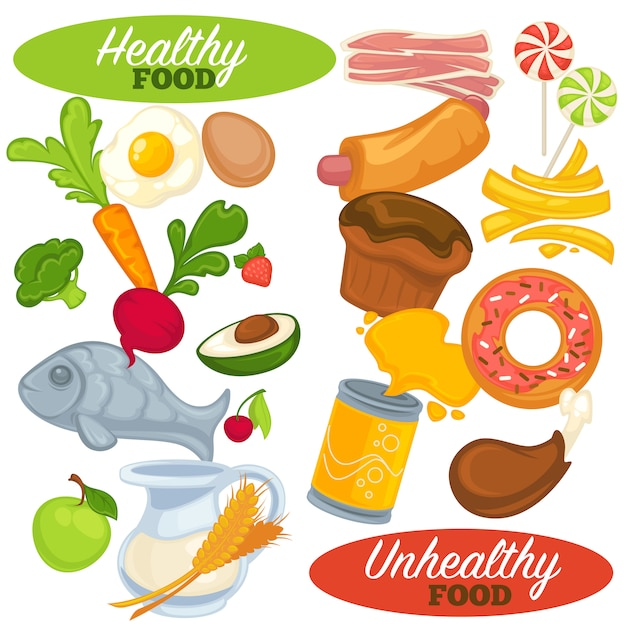 Gezonde en ongezonde voeding. Premium Vector