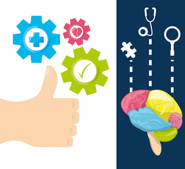 Gezonde hersenen met tandwielen verwerken het werk Premium Vector