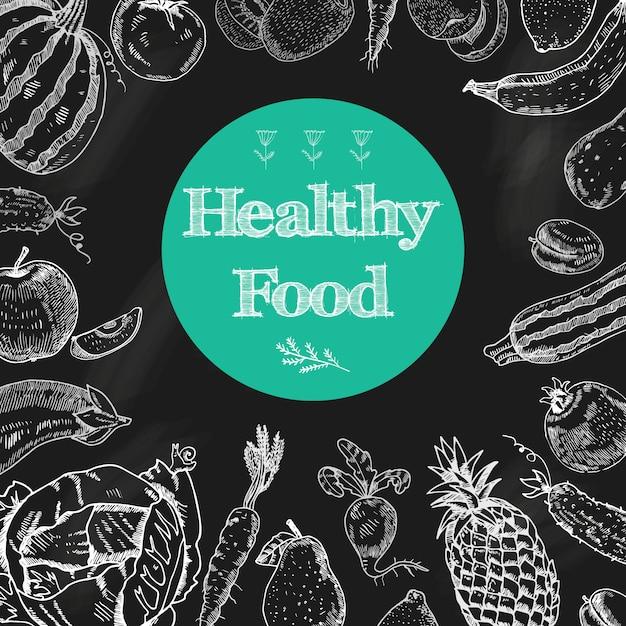 Gezonde het bordachtergrond van het voedseldieet met vruchten en groenten Gratis Vector