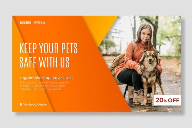 Gezonde huisdieren veterinaire kliniek websjabloon voor spandoek Premium Vector