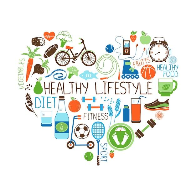 Gezonde levensstijl dieet en fitness vector teken in de vorm van een hart met meerdere pictogrammen met verschillende sportgroenten, granen, zeevruchten, vlees, fruit, slaap, gewicht en dranken Gratis Vector