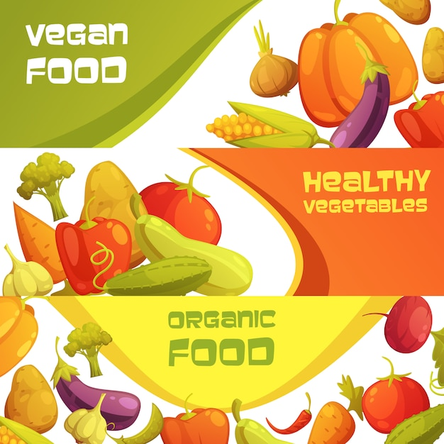 Gezonde organische de reclame horizontale die achtergrond van het veganistvoedsel met de rijpe geïsoleerde vectorillustratie van het landbouwersmarkt groenten geïsoleerde beeldverhaal wordt geplaatst Gratis Vector