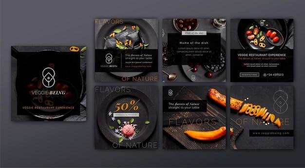 Gezonde restaurant instagram posts-collectie Premium Vector