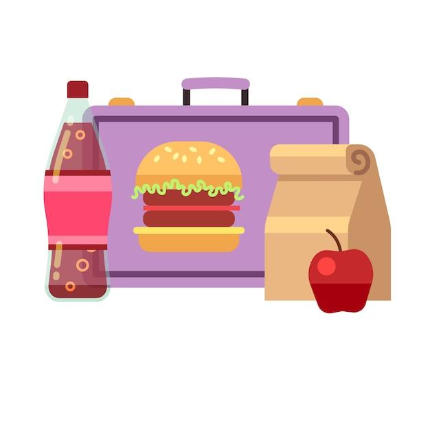 Gezonde schoollunch, studentenontbijt, schoolmaaltijden. lunch voor school, lunchbox Premium Vector