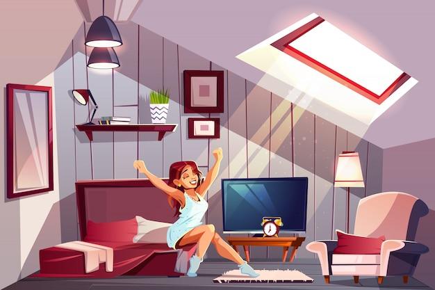 Gezonde slaap cartoon concept met gelukkig lachende vrouw in nachtjapon Gratis Vector