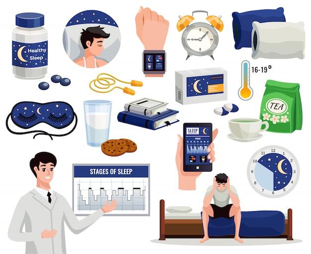 Gezonde slaap decoratieve elementen set alarm nacht masker arts weergegeven: grafiek van slaapstadia Gratis Vector