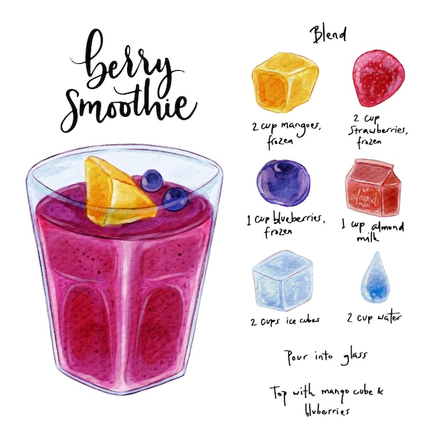 Gezonde smoothie recept concept Gratis Vector