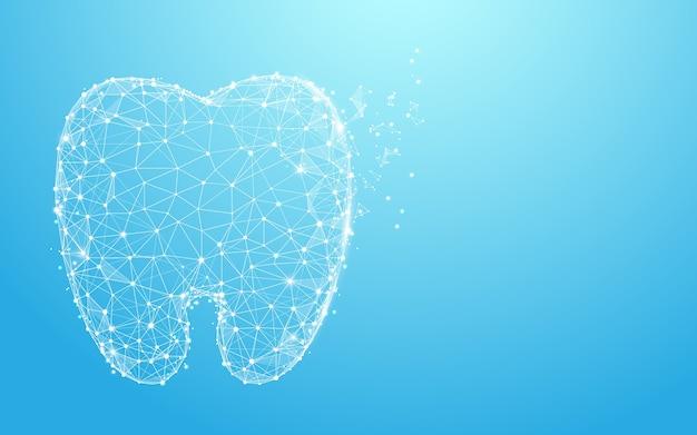 Gezonde tanden vormen lijnen en ontwerp van de deeltjesstijl Premium Vector