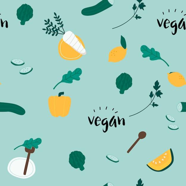 Gezonde veganistische naadloze achtergrond vector Gratis Vector