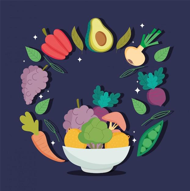 Gezonde voeding, groenten en fruit in kom gezondheid evenwicht voedingsdieet Premium Vector